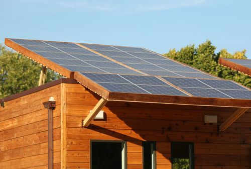 Solar-panels-wood-house